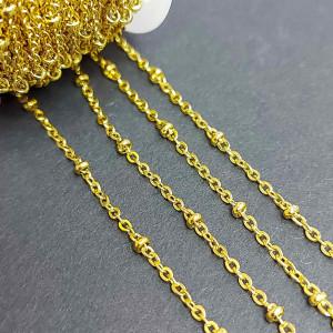 Цепь фигурная нержавеющая сталь 1.5мм, вставка бисер 2мм, цвет Золото