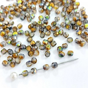 Fire polished 3mm Crystal Magic Copper