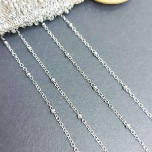 Цепь фигурная нержавеющая сталь 1.5мм, вставка бисер 2мм, цвет Серебро