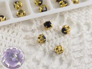 Шатоны 4мм цвет Montana оправа цвет золото