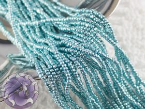 Бисер шарлотка 13/0 на нитке METALLIC TURQUOISE BLUE