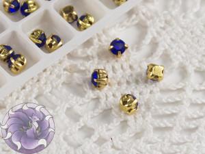 Шатоны 4мм цвет Sapphire оправа цвет золото
