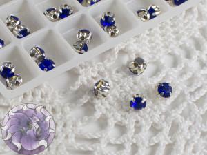 Шатоны 4мм цвет Sapphire оправа цвет серебро
