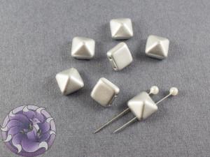 Pyramid beads 2-hole 6x6mm Aluminium Silver