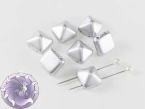 Pyramid beads 2-hole 12x12mm Aluminium Silver