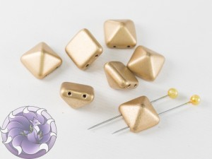 Pyramid beads 2-hole 12x12mm Aztec Gold