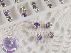 Шатоны 4мм цвет Violet оправа цвет серебро