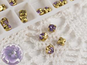 Шатоны 4мм цвет Violet оправа цвет золото