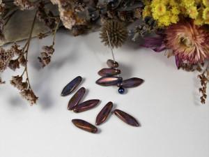 1-hole Glass Daggers 16x5mm Patina Tanzanite