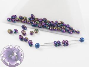 Twin 2-Hole 2.5x5mm Opaque Purple Iris