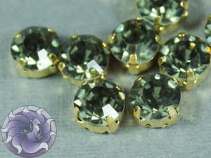 Шатон 6мм цвет 102 Black diamond оправа золото