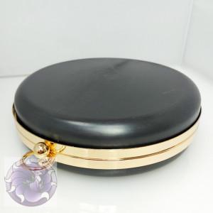 Фермуар каркасный рамочный, клатч бокс форма Таблетка светлое золото