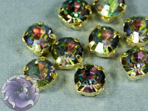 Шатон 6мм цвет 129 Crystal Vitrail Medium оправа золото