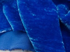 Шелковый бархат натуральный ручного окрашивания Цвет Сапфир