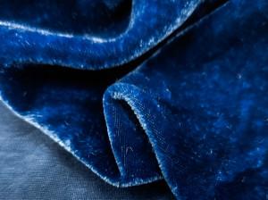 Шелковый бархат натуральный ручного окрашивания Цвет Синий джинс