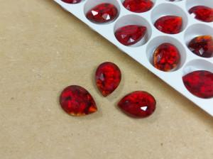 Кристалл Чехия капля 14х10мм Цвет Рубин с серебром