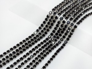 Стразовая цепь Микро 1,5мм ss4, основа сталь, цвет Jet
