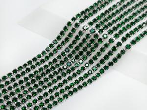 Стразовая цепь Микро 1,5мм ss4, основа сталь, цвет Emerald