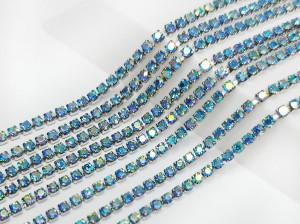 Стразовая цепь Микро 1,5мм ss4, основа сталь, цвет Aquamarine ab