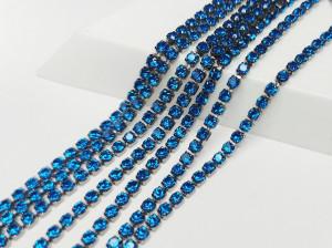 Стразовая цепь BN127 2мм ss6 Основа черная Цвет Sapphire