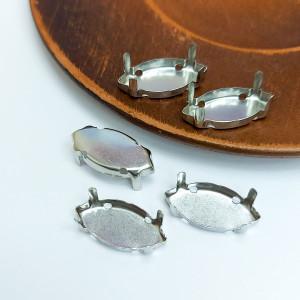 Оправа для кристаллов Лодочка с закрытым дном серебро 16*8мм
