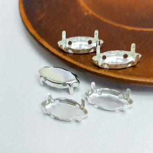 Оправа для кристаллов Лодочка Маркиз 7х15мм цвет белое серебро