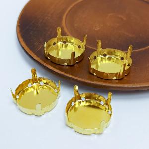Оправы для кристаллов Круглые с закрытым дном золотые 16мм