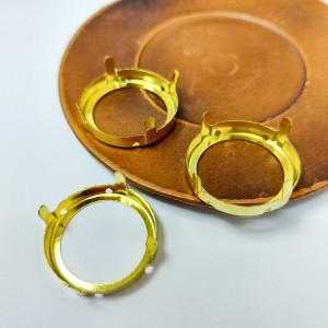Оправы для кристаллов Круглые золотые 27мм
