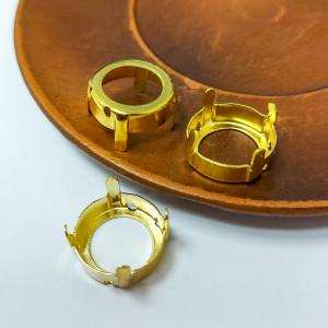 Оправы для кристаллов Круглые золотые 14мм