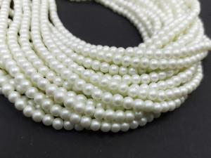 100 шт Перлини синтетичні скло 4мм, колір Матовий Білий 161