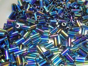 Стеклярус 3мм Miyuki Bugle Bead 5г Цвет METTALIC VARIEGATED BLUR IRIS
