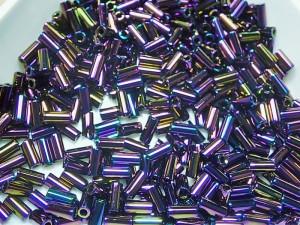 Стеклярус 3мм Miyuki Bugle Bead 5г Цвет PURPLE IRIS
