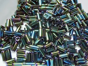 Стеклярус 3мм Miyuki Bugle Bead 5г Цвет GREEN IRIS