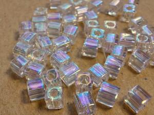 Бисер кубики 4мм 5г Miyuki Square Bead Цвет Crystal AB