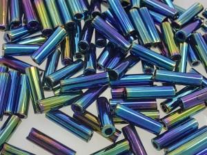 Стеклярус 6мм Miyuki Bugle Bead 5г Цвет BLUE VARIEGATED IRIS
