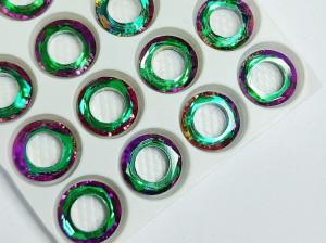 Кристалл круг бублик с отверстием 10мм, цвет Зелено розовый