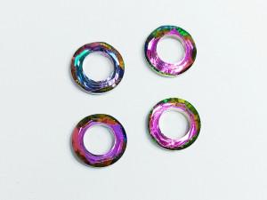 Кристалл круг бублик с отверстием 10мм, цвет Розово салатовый