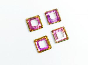 Кристалл квадрат с отверстием 10мм, цвет Розовый с оранжевым