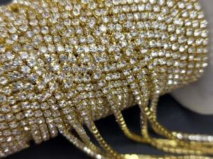 Стразовая цепь 2мм ss6 прозрачный в золоте, пришивная