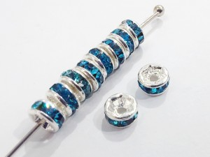 Разделители для бус со стразами 4мм, уп 10шт, цвет Голубой
