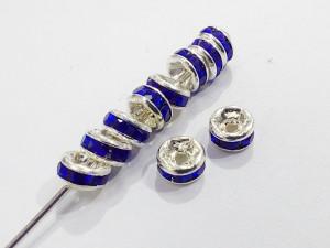 Разделители для бус со стразами 4мм, уп 10шт, цвет Синий