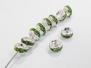 Разделители для бус со стразами 4мм, уп 10шт, цвет Зеленый