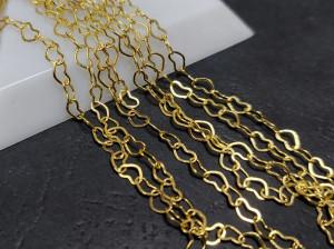 Цепочка сердечки 3х5мм цвет Золото