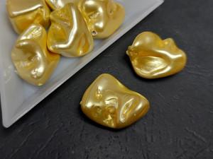Бусины перламутровое напыление Фантазийные 20-25мм цвет желтый