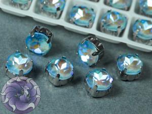 Шатон пришивной 8мм лаковый Ultra AB Цвет 206 Оправа серебро