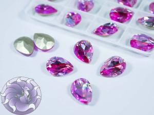 Кристалл лазер двухцветный 14*10мм капля цвет rose