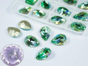 Кристалл лазер двухцветный 14*10мм капля цвет peridot