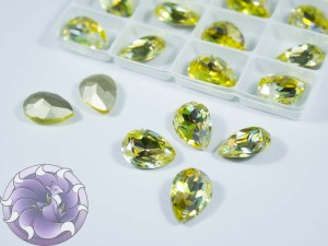 Кристалл лазер двухцветный 14*10мм капля цвет jonquil