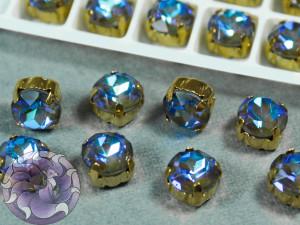 Шатон пришивной 8мм лаковый Ultra AB Цвет 228 Оправа Золото