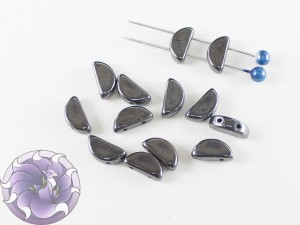 Semi Circle Beads 5x10 mm Jet Hematite